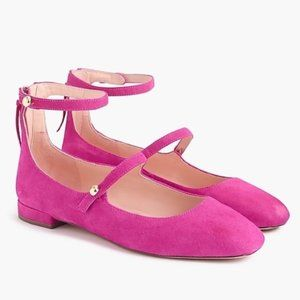 J.Crew Poppy Ankle Straps Pink Suede Ballet Flats.